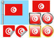 Flag Set Tunisia
