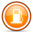 fuel orange glossy circle icon on white background