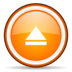 eject orange glossy circle icon on white background