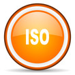 iso orange glossy circle icon on white background