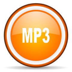 mp3 orange glossy circle icon on white background