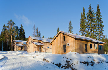 Recently constructed three country houses in wood