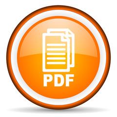pdf orange glossy circle icon on white background