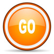 go orange glossy circle icon on white background