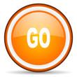 go orange glossy circle icon on white background