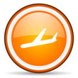 airplane orange glossy circle icon on white background