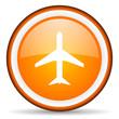 airplane orange glossy circle icon on white background