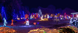 Fototapety Village in christmas lights, panoramic view
