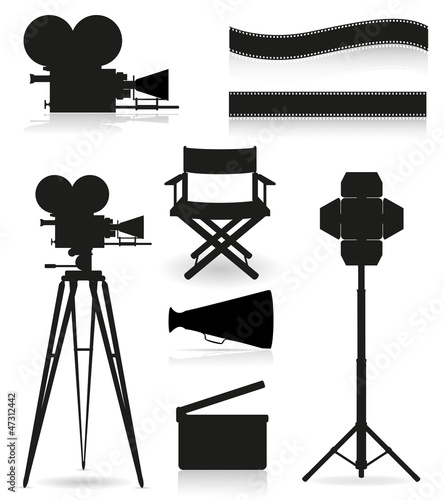 set icons silhouette cinematography cinema and movie vector illu
