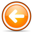arrow left orange glossy circle icon on white background