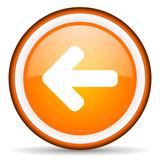 arrow left orange glossy circle icon on white background