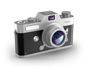 Retro photo camera over white. My own design.