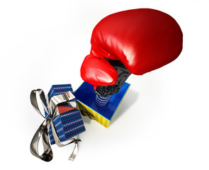 Boxing glove coming out from a gift box