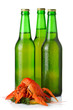 Three light beer bottles and lobsters heap isolated on white
