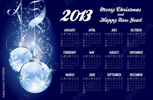 2013 calendar with Christmas greeting