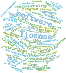 Word cloud for Software license
