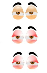 eyes in cartoon style from bad to worse