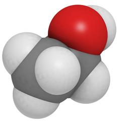 Ethanol (EtOH, alcohol) molecule, chemical structure