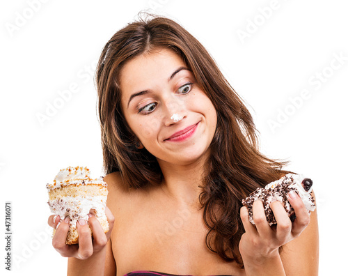 Girl with two cakes