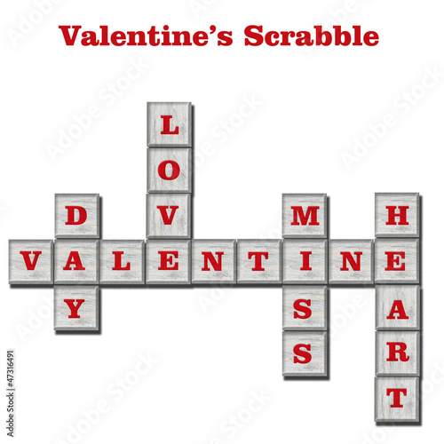 Scrabble game, concept for Valentine's day