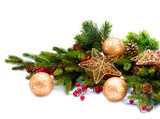 Fototapety Christmas Decoration. Holiday Decorations Isolated on White