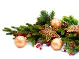 Fototapety Christmas Decoration. Holiday Decorations Isolated on White