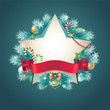 christmas vintage ribbon banner star shape