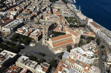 europe, italy, sicily, messina aereal view