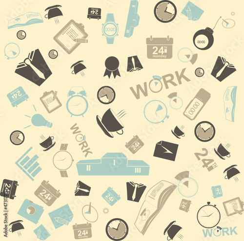 Vector background seamless. time management and business