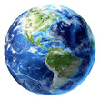 Leinwandbild Motiv Planet earth with some clouds. Americas view.