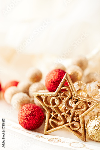 Close up of golden and red christmas decoration