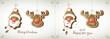 Weihnachtskarte, Lebkuchen, Weihnachtsmann und Rentier