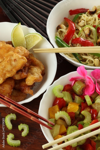 Chinese salad and fish
