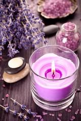 Lavender spa and zen stones