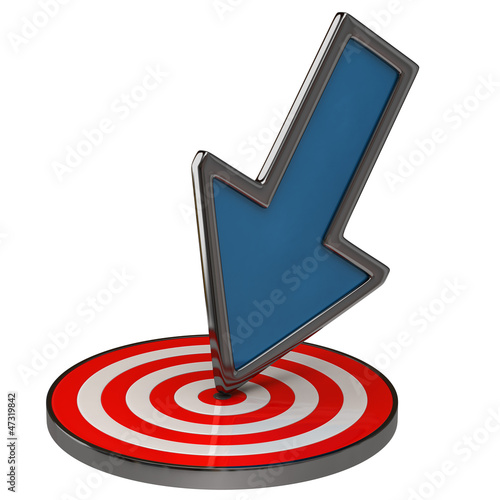 Success concept. Blue arrow and target.