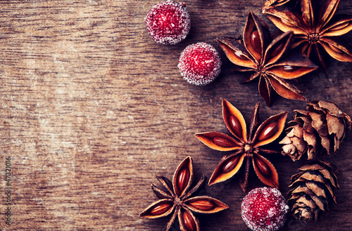 Rustic christmas background with star anise