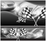 Checkered flags on auto background