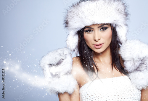 Attractive winter asian woman