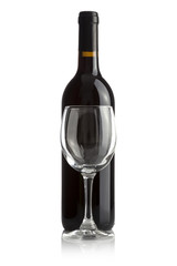 Elegant wine bottle and wine glass isolated on a white