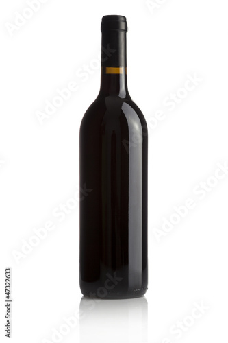 Elegant wine bottle isolated on a white background