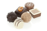 Gourmet chocolate bonbons isolated on white background.