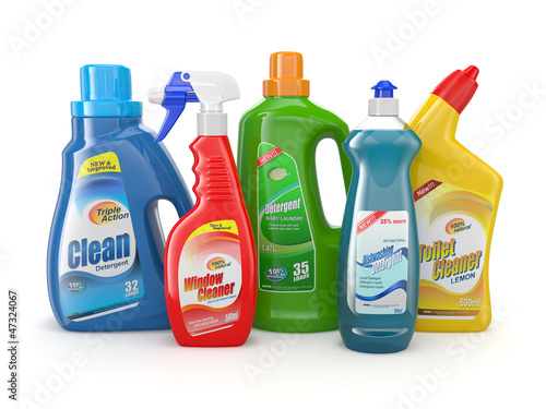 Leinwandbild Motiv Plastic detergent bottles. Cleaning products.