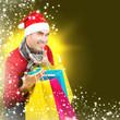 Nikolaus ist glücklich über Weihnachtsschnäppchen, Gold