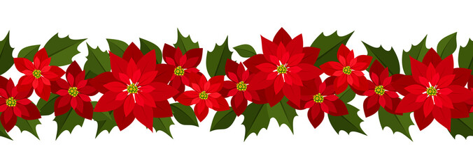 Horizontal seamless Christmas background with red poinsettia.