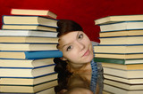 The girl and books.