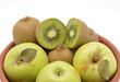 Green fruit: apples and kiwis
