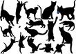 Cat and kitten vector silhouette set