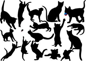 Cat and kitten vector silhouette set