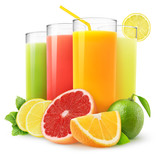 Fototapety Isolated drinks. Glasses of fresh citrus juices (orange, grapefruit, lemon, lime) and cut fruits isolated on white background