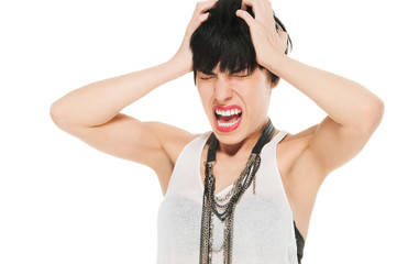 Woman in pain screaming, studio shot isolated on white